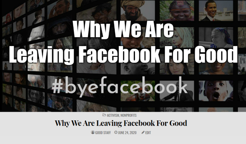 Read why we decided to leae Facebook for good